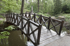 Wooden bridge over a small river in Sophia park in Uman Royalty Free Stock Images