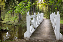 Wooden bridge over a stream Royalty Free Stock Image
