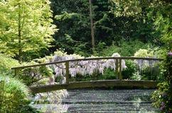 Wooden bridge over stream with wisteria Stock Photo