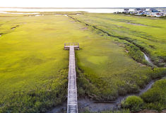 Wooden bridge over a swamp from above. Wooden bridge over a swamp aerial view Stock Image