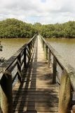 Wooden Bridge. A Wooden Bridge over the Waitangi River in New Zealand Royalty Free Stock Images