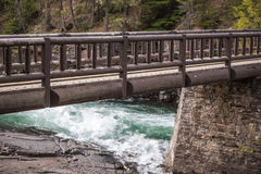 Wooden Bridge Over Whitewater River Royalty Free Stock Image