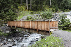 Wooden Bridge. A wooden bridge over wildwater in the Tirolean Alps Royalty Free Stock Photos