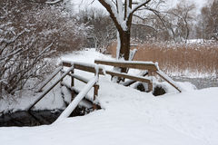 Wooden bridge in park Royalty Free Stock Photo