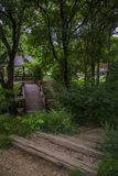 Wooden bridge in the park. Green park in Serbia, wooden stairs Stock Photography
