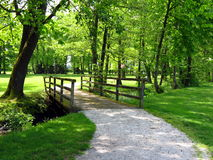 Wooden bridge in park Royalty Free Stock Images