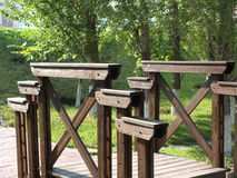 A wooden bridge in the park Royalty Free Stock Photo