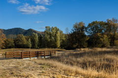 Wooden bridge at a park. A wood and concrete bridge over a dry, grassy culvert Stock Images