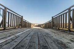 Wooden bridge. A part of an old wooden bridge Stock Photo