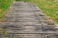 Wooden bridge. Wooden path background in the park royalty free stock image