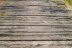 Wooden bridge. Wooden path background in the park stock photo