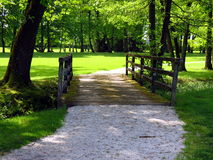 Wooden bridge with path Stock Photo