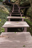 Bridge over the waterfall in Forest royalty free stock photo