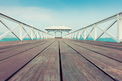 Wooden bridge pavilion in beautiful beach., Travel background. Royalty Free Stock Images