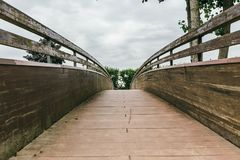 Wooden bridge perspective Royalty Free Stock Photography