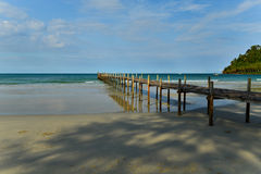 Wooden bridge and pier. Pier and bridge made by wood into the sea Royalty Free Stock Photos
