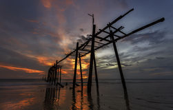 Wooden bridge he Pilai stock image