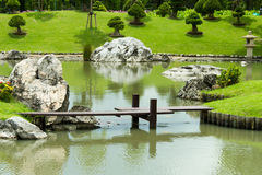 Wooden bridge and pond Royalty Free Stock Photography