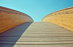 Wooden bridge with railing Stock Image
