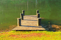 Wooden bridge in the reservoir Royalty Free Stock Photography