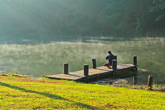 Wooden bridge in the reservoir Royalty Free Stock Image