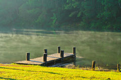 Wooden bridge in the reservoir Royalty Free Stock Photo