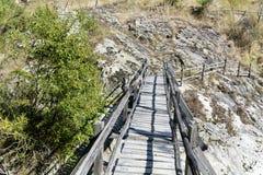 Wooden bridge in Rhodope mountain Bulgaria. Old wooden bridge in Rhodope mountain Bulgaria Stock Photos