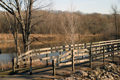 Wooden Bridge and River. At sunset near the dam area, Coralille, Iowa stock images
