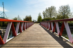 Wooden Bridge on River Royalty Free Stock Images