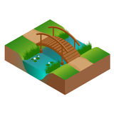 Wooden bridge at the river. Flat 3d vector isometric illustration. Stock Image