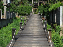 Wooden bridge on the river in krabi Royalty Free Stock Photo