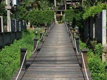 Wooden bridge on the river in krabi Royalty Free Stock Photo