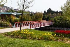 Wooden Bridge on River Stock Image