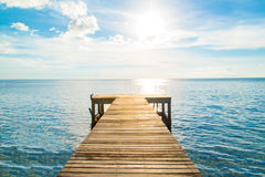 Wooden bridge road to freedom and relax at sea from Thailand. 3 Royalty Free Stock Photography