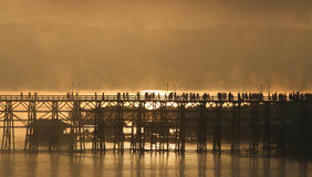 Wooden bridge of Sangkhlaburi in Kanjanaburi province,Thailand, Morning day. Royalty Free Stock Photography