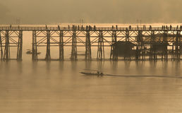 Wooden bridge of Sangkhlaburi in Kanjanaburi province,Thailand, Morning day. Stock Photography
