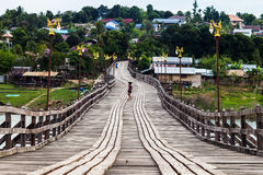 Wooden bridge at Sangkhlaburi, Thailand Royalty Free Stock Photos
