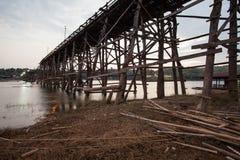 Wooden bridge at Sangklaburi Royalty Free Stock Images