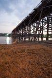 Wooden bridge at Sangklaburi Stock Photo