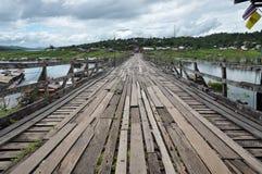 Wooden bridge at Sangklaburi Thailand. Old an long wooden bridge at Sangklaburi,Kanchanaburi province, Thailand Stock Image