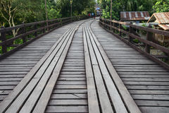 Wooden bridge in Sanklaburi, Thailand Royalty Free Stock Images