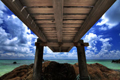 Wooden bridge and sea Royalty Free Stock Photo