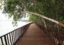 Wooden Bridge on the Sea. Brown wooden bridge above the sea water heading to Saporkren Village, Waigeo Island, Raja Ampat, West Papua stock photos