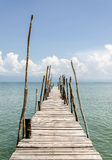 The wooden bridge and sea in holiday Stock Photo
