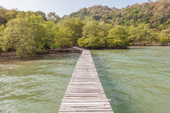 The wooden bridge on sea for nature sightseeing pathway. Royalty Free Stock Photo