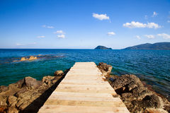 Wooden bridge - sea, summer. Stock Images