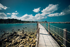 Wooden bridge - sea, summer. Royalty Free Stock Images