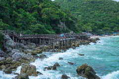 Wooden Bridge Sea view Royalty Free Stock Images