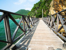 Wooden Bridge seacape in koh lan ,Thailand , vintage tone.  Royalty Free Stock Image