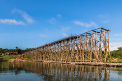 Wooden bridge is the second longest in the world in  thailand Stock Photos